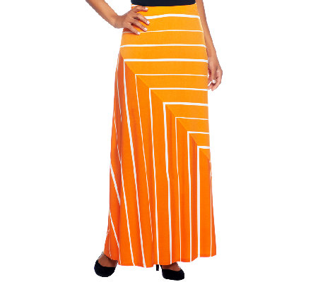 Susan Graver Liquid Knit Pull-on Striped Maxi Skirt