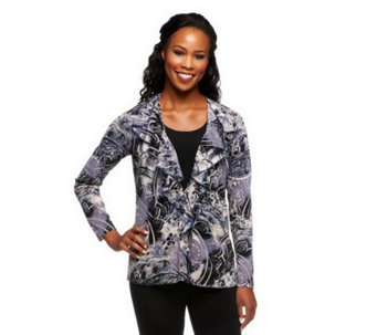 """As Is"" Susan Graver Printed Crepe Knit Ruffled Front Cardigan - A253450"