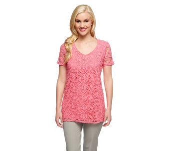 Liz Claiborne New York Short Sleeve Lace Front Knit Tunic - A253750