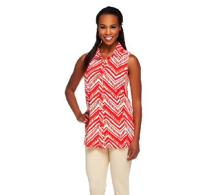 Susan Graver Liquid Knit Printed Button Front Sleeveless Top