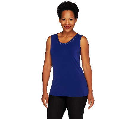 Susan Graver Liquid Knit Scoop Neck Top w/ Embellished Trim