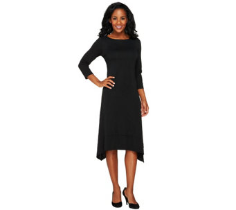 Susan Graver Premier Knit Bateau Neck 3/4 Sleeve Dress w/ Asymmetric Hem - A260350