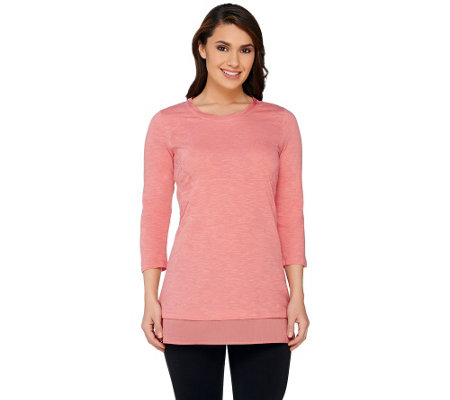 LOGO by Lori Goldstein Flocked Slub Knit Top with Trim Detail