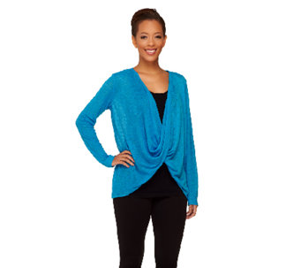 cee bee CHERYL BURKE Twist Overlay Long Sleeve Top - A261550