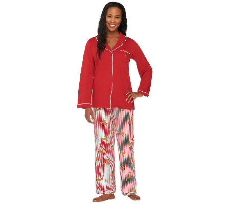 ED On Air Mixed Stripe & Deer Print Pajama Set by Ellen DeGeneres