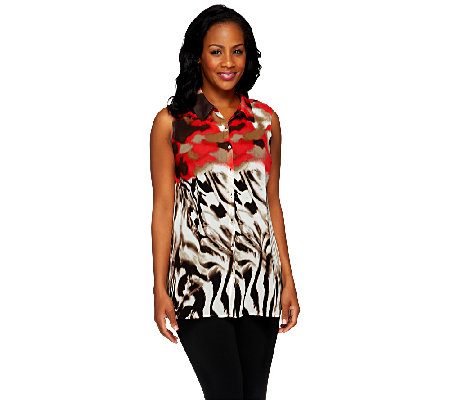 """As Is"" Susan Graver Printed Chiffon Button Front Sleeveless Top"