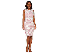 Dennis Basso Striped Sleeveless Knit Dress with Belt - A264950