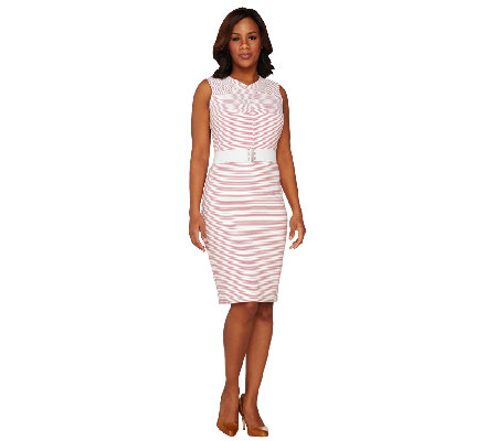 Dennis Basso Striped Sleeveless Knit Dress with Belt