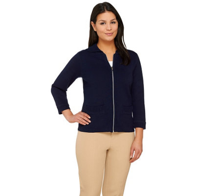 Linea by Louis Dell'Olio Zip Front 3/4 Sleeve Knit Cardigan
