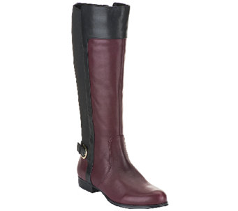 """As Is"" Isaac Mizrahi Live! Leather Riding Boots-Wide Calf - A266350"