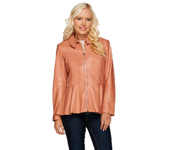 Isaac Mizrahi Live! Peplum Leather Jacket - A267450