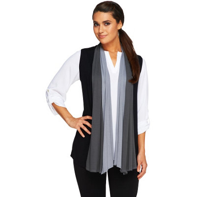 """As Is"" LOGO by Lori Goldstein Color-Block Drape Front Knit Vest"