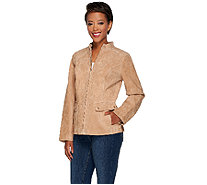 Dennis Basso Washable Suede Stand Collar Moto Jacket - A268050