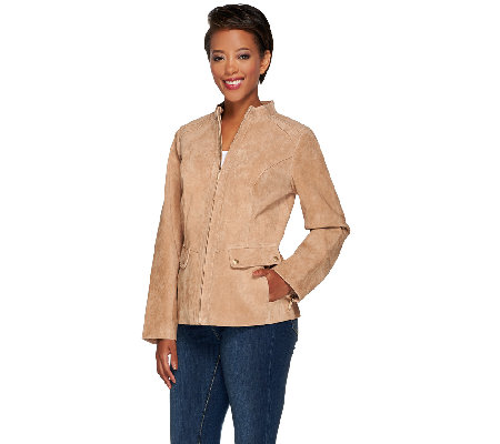 Dennis Basso Washable Suede Stand Collar Moto Jacket