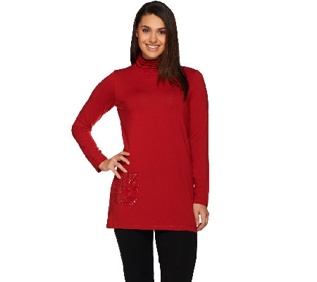 Joan Rivers Jersey Knit Turtleneck Tunic with Sequin Pocket