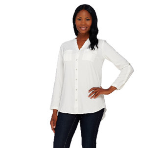 Denim & Co. Woven Button Front Shirt with Roll Tab Sleeve - A269350