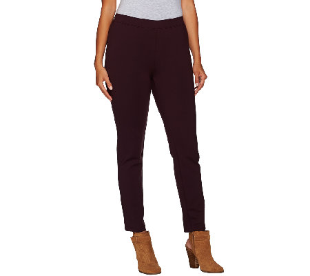 H by Halston Ponte Knit Pull-On Slim Ankle Pants