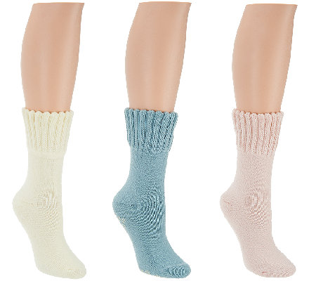 CASA Set of 3 House Socks w/ Non-Skid Snowflakes
