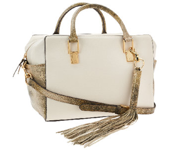 """As Is"" G.I.L.I. Classic Italian Pebble Leather Satchel - A270350"