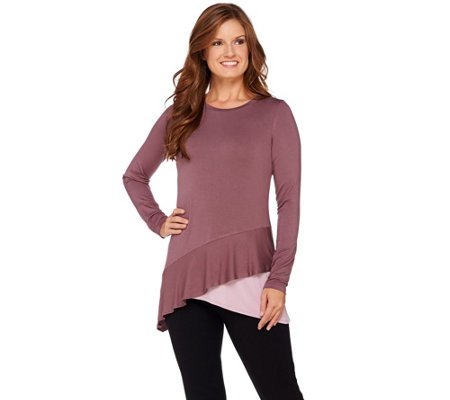 LOGO by Lori Goldstein Knit Top with Tiered Asymmetric Hem