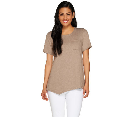"""As Is"" LOGO Lounge by Lori Goldstein French Terry Top with Pocket"