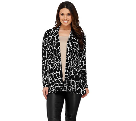 Susan Graver Printed Liquid Knit Long Sleeve Open Front Cardigan