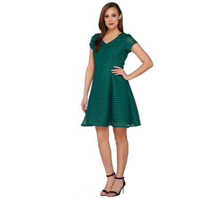 Isaac Mizrahi Live! Striped Lace Neoprene Dress