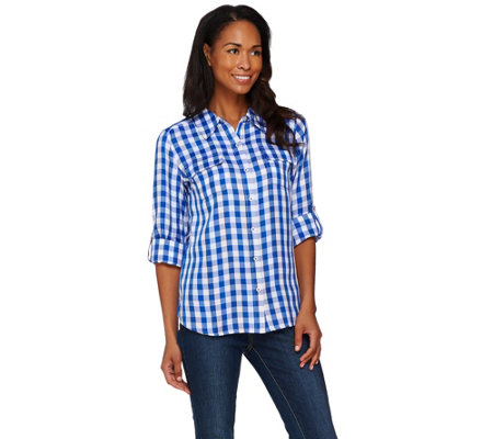 Isaac Mizrahi Live! Gingham Button Front Shirt