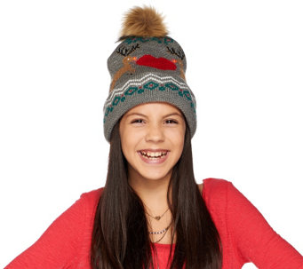 Aeropostale Light Up Reindeer Motif Hat with Faux Fur Pom Pom - A273950