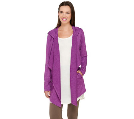 """As Is"" LOGO Lounge by Lori Goldstein Cascade Front Hooded Cardigan"