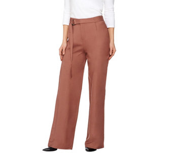 H by Halston Regular Linen Blend Wide Leg Pants - A275450