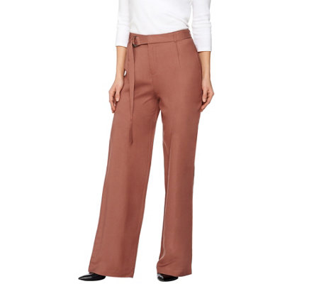 H by Halston Regular Linen Blend Wide Leg Pants