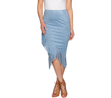 G.I.L.I. Faux Suede Fringe Wrap Pencil Skirt