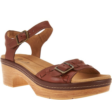 Clarks Leather Sandals with Adj. Ankle Strap - Preslet Stone