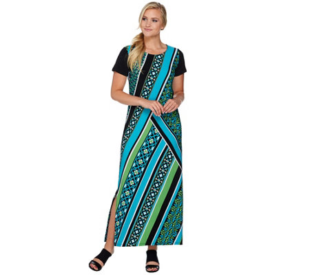 Bob Mackie's Short Sleeve Printed Knit Maxi Dress with Side Slits