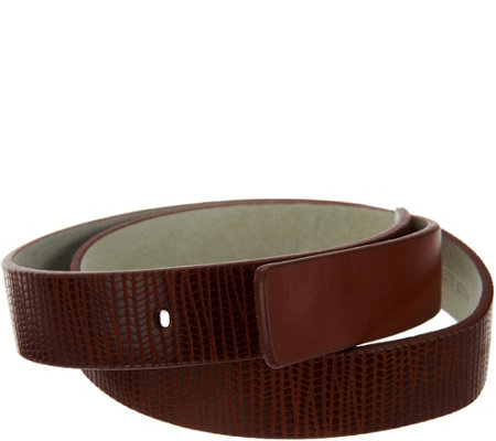H by Halston Lizard Embossed Leather Belt