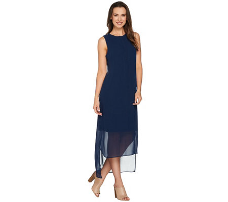 H by Halston Sleeveless Knit Maxi Dress with Chiffon Overlay