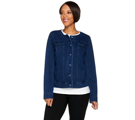 Isaac Mizrahi Live! Knit Denim Jacket w/ Printed Trim