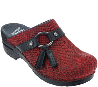 """As Is"" Dansko Leather Stain Resistant Clogs with Strap - Shandi - A278650"