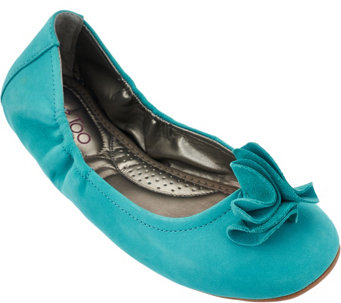 """As Is"" Me Too Leather Ballet Flats w/ Flower Detail - Lexi - A278750"