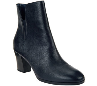 """As Is"" Isaac Mizrahi Live! Leather Booties with Goring - A279250"
