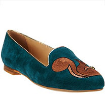 C. Wonder Squirrel Embroidered Suede Loafers - Chelsea - A279950