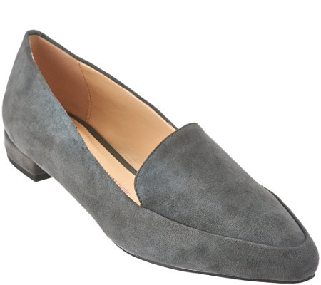 """As Is"" Isaac Mizrahi Live! Suede Loafers with Heel Hardware Detail"