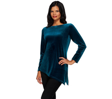 """As Is"" Susan Graver Stretch Velvet Tunic with Asymmetric Hem"