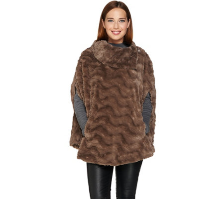 Dennis Basso Textured Faux Fur Poncho