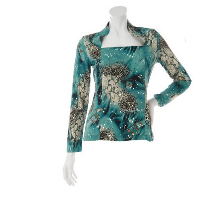 """As Is"" George Simonton Animal Print Milky Knit Top with Sparkle Detail"