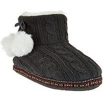 Cuddl Duds Faux Fur Lined Ankle Bootie Slipper with Foam Insole - A281650