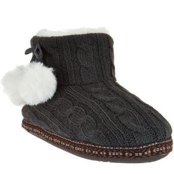 Cuddl Duds Faux Fur Lined Ankle Bootie Slipper with Foam Insole