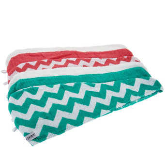 Set of 6 Chevron & Solid 100% Cotton Turbie Twist Hair Towels - A282650