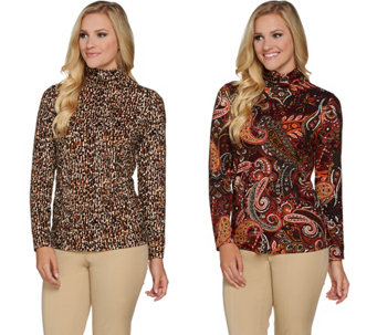 Susan Graver Set of 2 Printed Brushed Liquid Knit Turtleneck Tops - A282950